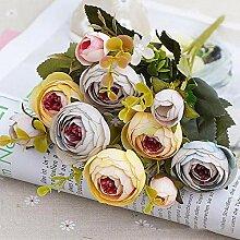 HJTL Vintage Seidenblumen Retro Teerosen