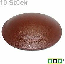 HKB ® 10 Stück BUMMS Türstopper, Türpuffer, Ø 60 mm Höhe: 15 mm, braun, aus Kunststoff, mit Klebefläche, Originalprodukt von Hersteller Hansi Siebert, Artikel-Nr. 50373