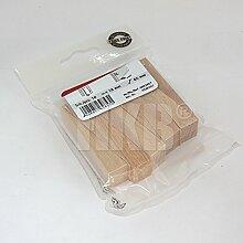 HKB ® 10 Stück Türstopper, auch als Möbelkeile geeignet, für alle Böden geeignet, 65 x 18mm Hubhöhe 1 – 14mm, Echtholz Buche natur, Hersteller Hettich, Artikel-Nr. 0062859