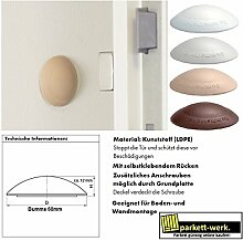 HKB® Türstopper Bumms Türpuffer Wandpuffer selbstklebend und schraubbar für Wand und Boden 60mm by parkett-werk (weiß, 10 Stück)