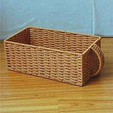 HL-das Stroh, großes Staufach compilation Warenkorb Holz box Kleidung einfach Spielzeug Korb, Orange, Griff