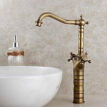 HL-europäischen Stil Badezimmer Schrank Waschbecken antike kaltes und warmes Wasser Hahn, alle Kupfer-, Messing- becken, Becken Doppel zurück zu den alten