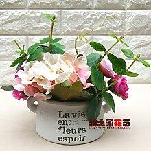 HL-HZH-Heimtextilien Potted Flower Dekoration Dekoration Blumen Hortensie Pflanzen, Rosa