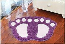 HL-PYL @Carpet-Beflockung Fußmatte Fußmatte Badematte Badematte, 48 X 67 Cm, Viole
