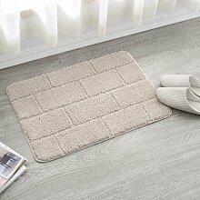HL-PYL @Carpet-Einfache Sanitäre Saugkissen Matte Teppich rutschfeste Fußauflage, 60 X 90 Cm, Beige