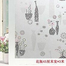 HL-PYL Glass stickers-Badezimmer Fenster, Transparent, Opak, Schattierung, Milchglas, Folie Selbstklebend, Wasserfest, Sonnenschutz, F, 45 Cm Breit X 3 M