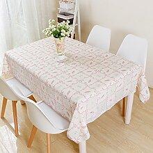 HL-PYL Kleine, frische Blumen Garten Tischdecken rechteckige Kunststoff Tischdecke Spitze Rot karierte Tuch Mode PVC wasserdicht Tabelle, Rosa, 137 * 180 cm,