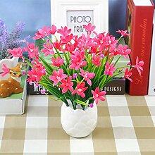 HL-PYL Kreative Simulation Heimtextilien Simulation Blume Blume Dekoration Zubehör Blume Seide Blumentöpfe Ganze Floral Table Table Blumenornamenten, Rote Orchidee Weiß-Po