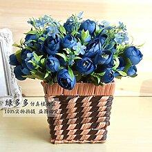 HL-PYL Künstliche Blumen Blumen Floralen Ornamenten Silk Flower Pot Blume Kleinen Garten, Blaue Tuba
