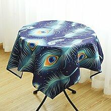 HL-PYL - Runder Tisch Tischdecke Leinen Tischdecke Esszimmer Tischdecke Runden Tisch Kreativ dicken Teil frisch Garten Kunst Marine Blau 180 X 130