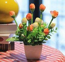HL-PYL Simulation Von Kleinen Ornamenten Dekoration Im Inneren Die Plastikblumen, Getrocknete Blumen, Schmuck, Heimtextilien Tisch Kaffeekanne, Rose Orange