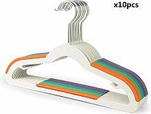 HLC 10er Kleiderbügel Kunststoff, Antirutsch mehrfarbig für Kinder