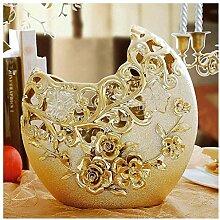 HLL Vase Moderne Zeichnung Gold Blumen Eingefügt