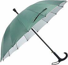 HLMMM Gehstock Regenschirm Alter Mann rutschfeste Spazierstock Tourismus Multifunktions Krücke Regenschirm Männer Frauen Geschenk Krücke Regenschirm (Farbe : Grün)