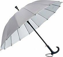 HLMMM Gehstock Regenschirm Alter Mann rutschfeste Spazierstock Tourismus Multifunktions Krücke Regenschirm Männer Frauen Geschenk Krücke Regenschirm (Farbe : Grau)