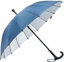 HLMMM Gehstock Regenschirm Alter Mann rutschfeste Spazierstock Tourismus Multifunktions Krücke Regenschirm Männer Frauen Geschenk Krücke Regenschirm (Farbe : Blau)