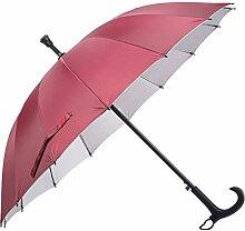 HLMMM Gehstock Regenschirm Alter Mann rutschfeste Spazierstock Tourismus Multifunktions Krücke Regenschirm Männer Frauen Geschenk Krücke Regenschirm (Farbe : Rot)