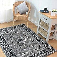 HLS Teppich, klassischer Orient-Perser-Stil, Blumenmuster, traditioneller Teppich/Teppich, 120x 170cm, Grau