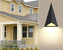 HLT 9W LED Wand Außenleuchte mit up und down light, 900 Lumen, warm weiß, Dreieck