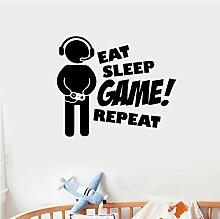 HLZLA Eat Sleep Game Repeat Art Aufkleber PVC