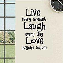 HLZLA Lebe jeden Moment Lache jeden Tag Aufkleber