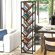 HM&DX Baum Bücherregal 12 Regale,Holz Stahlrahmen