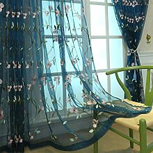 HM&DX Bestickt Voile Gardinen Vorhang Drapieren