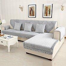 HM&DX Flanell Gesteppter Sofa abdeckung Slipcover,Multi-size Gitter Anti-rutsch Schmutzabweisend Schnitt Sofaschonbezug Sofa throw-grau 90x120cm(35x47inch)