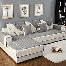 HM&DX Fleece Sofa abdeckung Für haustiere hund,Multi-size Gesteppter Spitze trimmen Anti-rutsch Schmutzabweisend Sectional sofa slipcover Sofa throw-grau 110x160cm(43x63inch)