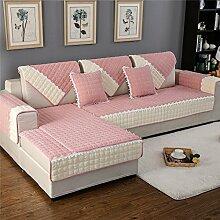 HM&DX Fleece Sofa abdeckung Für haustiere hund,Multi-size Gesteppter Spitze trimmen Anti-rutsch Schmutzabweisend Sectional sofa slipcover Sofa throw-Rosa 90x240cm(35x94inch)