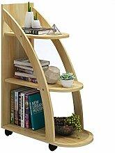 HM&DX Holz Bücherregal mit rädern, 3-Tier
