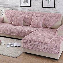 HM&DX Plüsch Sofa Überwurf,Dick Gesteppter Anti-rutsch Schmutzabweisend Multi-size Sofa abdeckung Protector für haustiere hund Schnitt Sofaschonbezug-Rosa 90x90cm(35x35inch)
