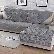 HM&DX Plüsch Sofa Überwurf,Dick Gesteppter Anti-rutsch Schmutzabweisend Multi-size Sofa abdeckung Protector für haustiere hund Schnitt Sofaschonbezug-grau 70x210cm(28x83inch)