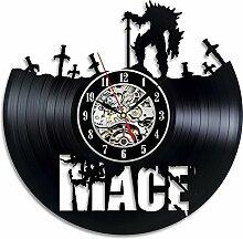 HMer Wanduhr Schallplatten Vinyl Mace Muster