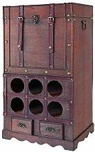 HMF 6500-176 Vintage Weinregal aus Holz mit Truhe