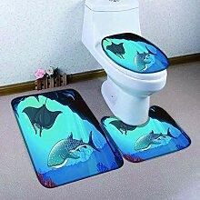 HNYF badgarnitur Blauer Hai 3D Drucken badematten