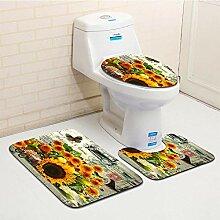 HNYF badgarnitur Blumen 3D Drucken badematten Set