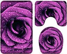 HNYF badgarnitur Lila Rose 3D Drucken badematten