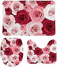 HNYF badgarnitur Pinke Rose 3D Drucken badematten