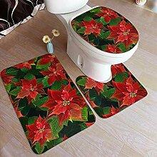 HNYF badgarnitur rote Blume 3D Drucken badematten
