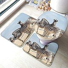 HNYF badgarnitur Zebra 3D Drucken badematten Set 3