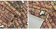 HNZZN 3D-Non-Woven Wallpaper Charakter Graffiti Buchstaben Pfeil Cafe Restaurant Milch Kaffee Hotel Schlafzimmer Wohnzimmer Tapete, dunkle Khaki, 53 CM X 10 M