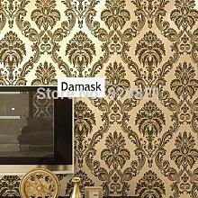 HNZZN Vintage Damask Tapete 3D-geblümten Tapeten