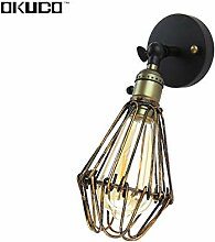 HNZZN Weinlese-Wandlampe mit Knopfschalter für