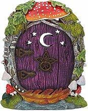 Hobbit, Pixie, Elfe, Fairy Tür–Tree Garden Home Decor–Violett Fairy Tür mit Moon & Star Detail–15cm