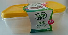 Hobby Life 3Liter 2-teilig Kunststoff Trend eckig Aufbewahrung/Food Saver Box Set, transparent Gelb
