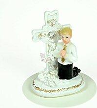 Hobbybäcker Kommunion-Junge mit Kreuz, 10 cm aus Polyresin