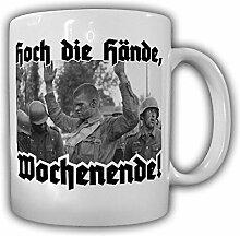 Hoch die Hände Wochenende Humor Fun Soldat Foto Gefangener Tasse Becher #19797