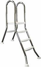 Hochbeckenleiter Edelstahl für teilweise eingebaute Becken 1x1 + 1x3 Stufen, 100cm