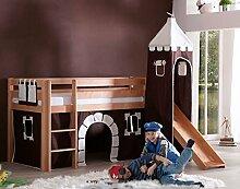 Hochbett ALEX Kinderbett mit Rutsche Spielbett Bett Natur Stoffset Burg